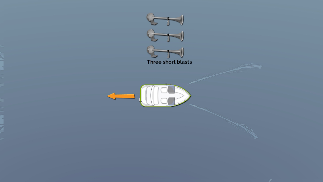 Three short blasts - I am operating astern propulsion