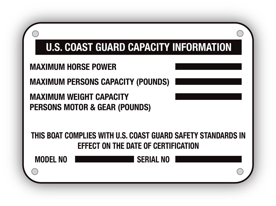 Capacity plate showing maximum horsepower and pounds