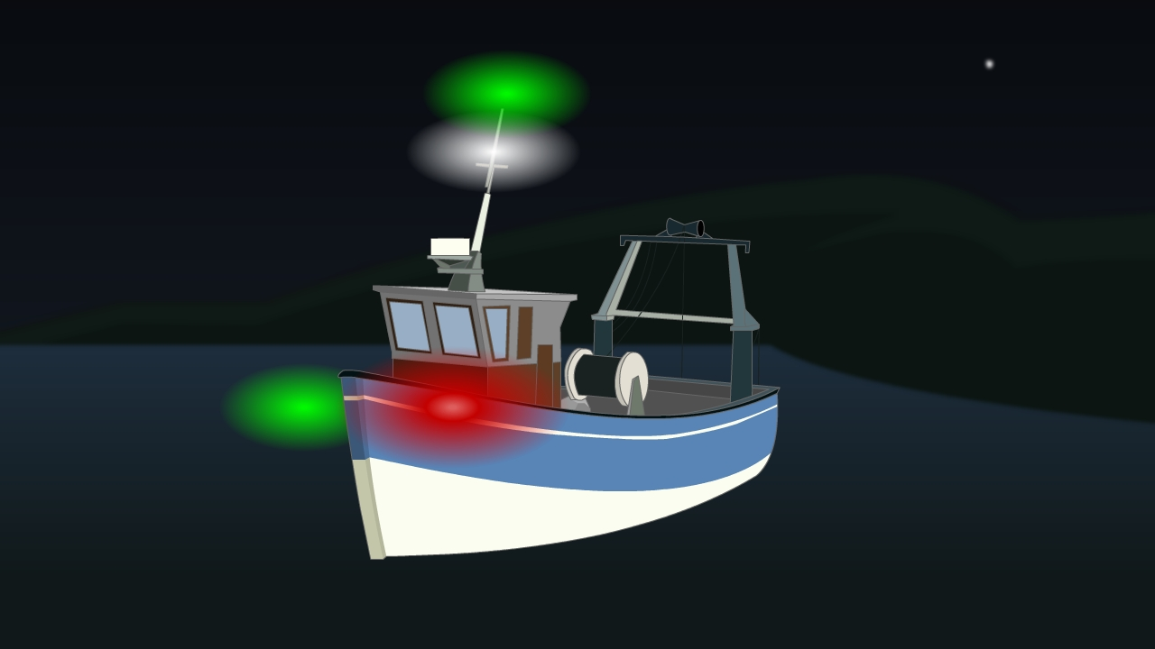 Lights for vessel engaged in trawling