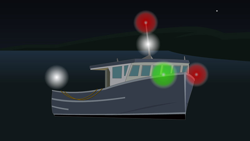 Navigation lights for a fishing boat