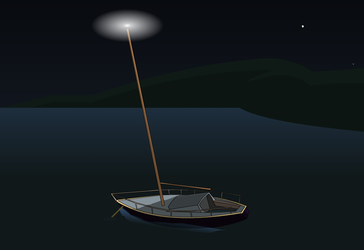 Light configuration for anchored boat