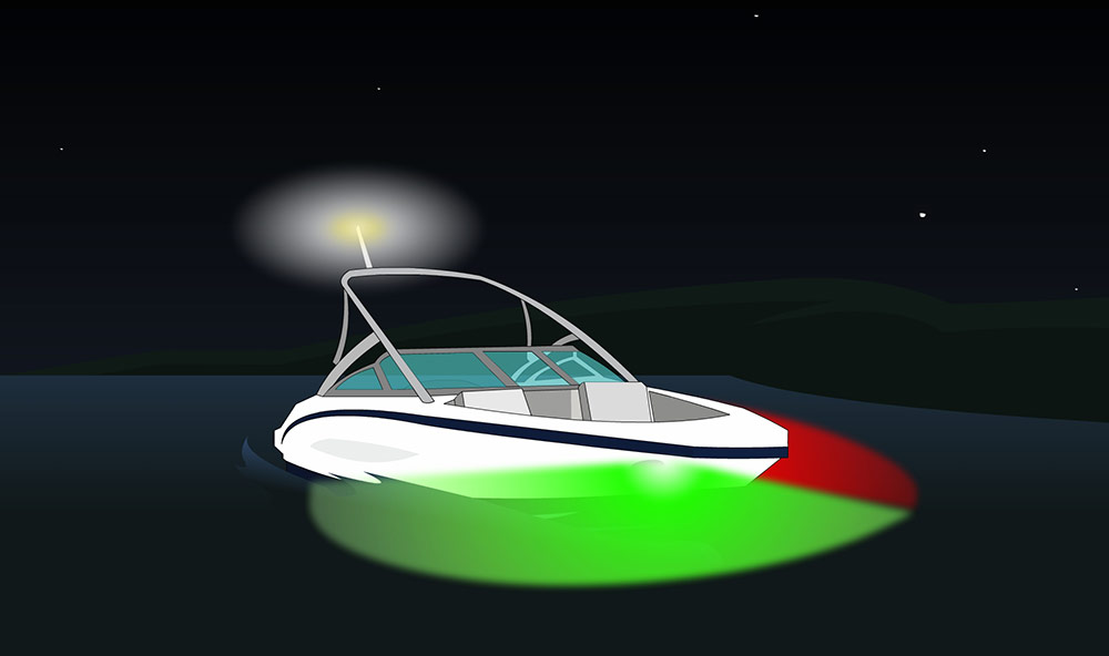 Navigation lights for boat less than 12 metres