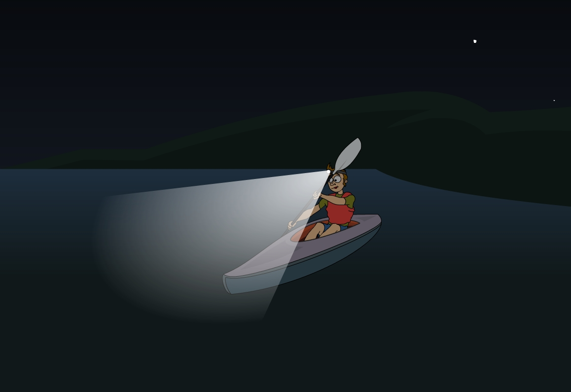 kayaker lights at night