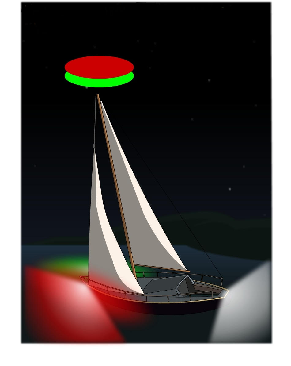 Light configurations for sailboats less than 20 meters