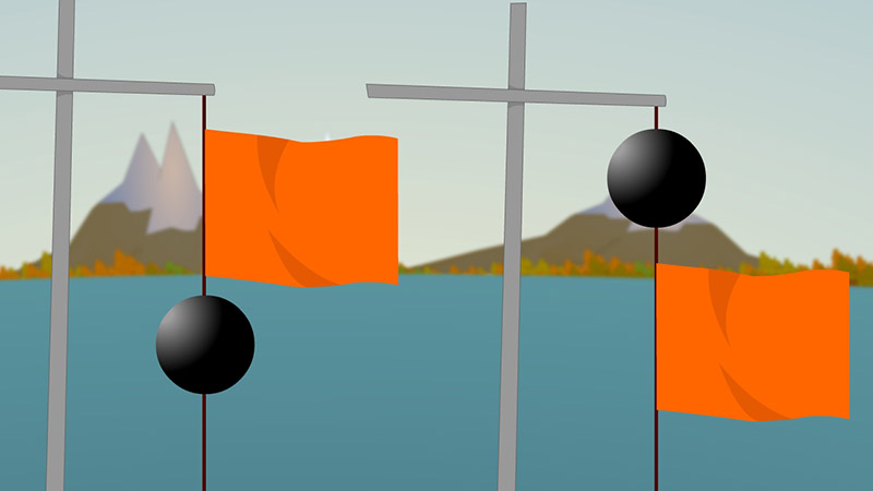 Square flag with a ball