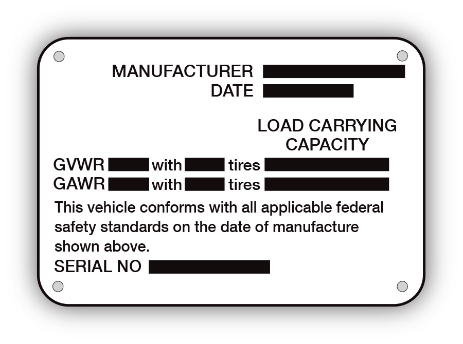 Trailer - Capacity Plate