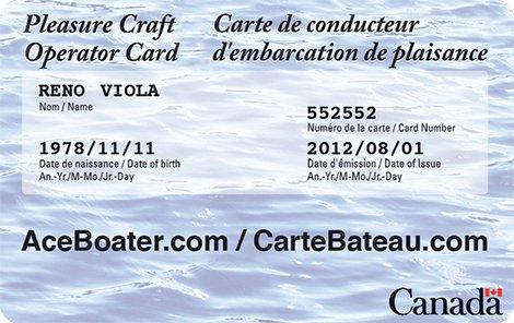 Pleasure Craft Operator Card - Boating License